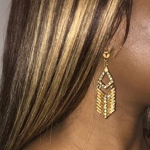Brown and Gold bedazzled drop earrings